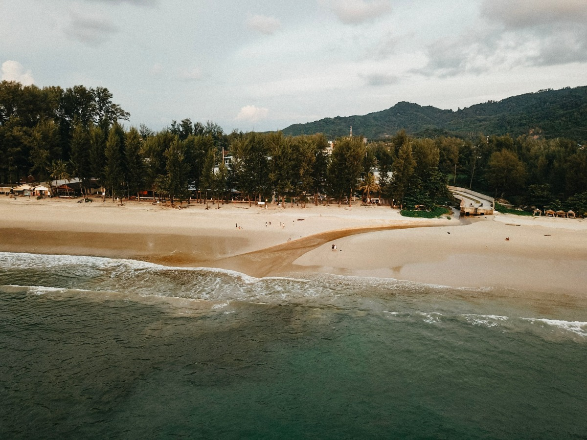 drone photo of beach and resort